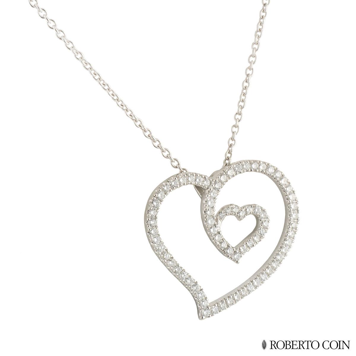 Roberto Coin White Gold Diamond Heart Pendant 0.96ct G/VS